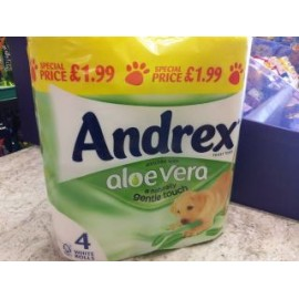 ANDREX TOILET TISSUE ALOE VERA 4WHITE ROLLS